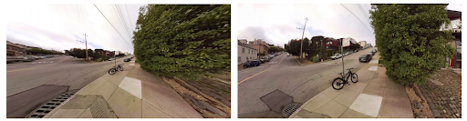 Fig. 3: Perspective (left) and stereographic (right) projections of the same spherical image. Source: 3D Object Detection in Equirectangular Panorama