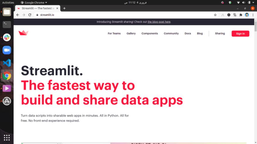Opening Streamlit.io Webpage - Source: Omdena