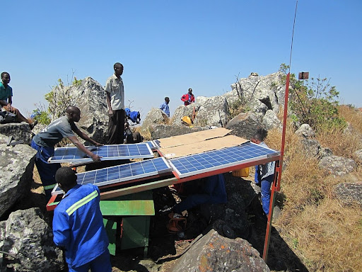 Construction of solar panel array structure (Source: Wikimedia Commons)