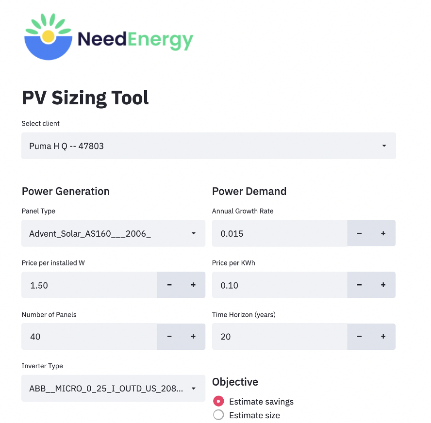 The User Input Display for the PV Sizing Tool (Source: Omdena)